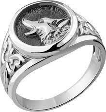 Мужская серебряная печатка ''Волк'' <b>Aquamarine 54680</b>-S-a ...