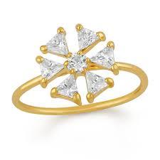 Mahi Floral love <b>triangular petals</b> Finger ring – Jewelmaze.com