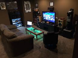 enchanting computer room design ideas with colorful lighting and exciting game animation workstation black wood small bedroom comely excellent gaming room ideas