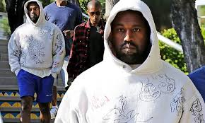 Kanye West sports a gray <b>hoodie</b> with hand-drawn <b>Rick And Morty</b> ...