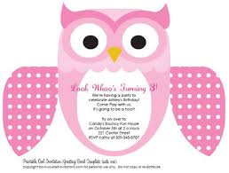 Printable DIY Kids Birthday Invitations: Cute Owl Invites printable kids birthday invitations pink owl