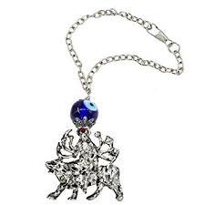 Faynci <b>Goddess</b> Durga MATA <b>Red Silver</b> Crystal Diamond Studded ...