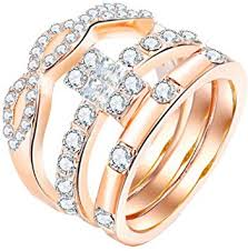 Beppter 3PC Womens Diamond Crystals Band <b>Engagement</b> Rings ...
