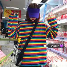 <b>NiceMix</b> Fashion Women's Clothing Korea Sweet Rainbow Striped ...