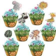 2019 <b>Omilut</b> Jungle <b>Birthday Party</b> Cake Decor Safari Jungle Animal ...