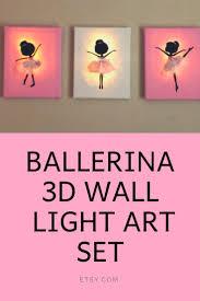 Ballerina <b>3D</b> Wall Light <b>Art</b> Set of 3 <b>Decor</b> Bedroom Wall Hanging ...