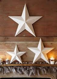 metal star wall decor: set of  large metal tin barn star wall decor