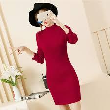Women <b>Knitted Sweater</b> Dress <b>Autumn Turtleneck Long</b> Sleeve ...