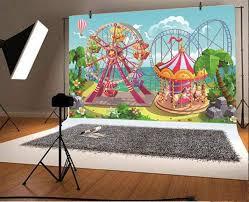 <b>Laeacco</b> Vinyl Backdrops Baby <b>Cartoon</b> Amusement Funfair ...