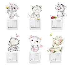 <b>6pcs</b>/<b>lot</b> New Cartoon <b>Cute Cat</b> Switch Sticker Wall Stickers Butterfly ...