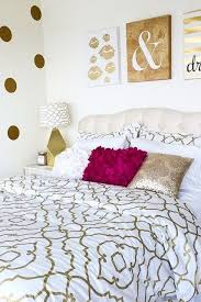 for the glam girl gold embellished quatrefoil bedding looks right at home with the gold bedroom white bed set