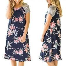 <b>Women</b> Floral Print Pleated <b>Dress Summer Stand</b> Collar Short ...