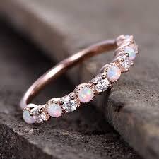 <b>HOMOD</b> New Opal Wedding Ring Rose Gold Color CZ Zircon ...