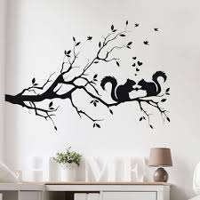<b>Hot Sale</b> Squirrel On Long Tree Branch Wall Sticker Animals Cats ...