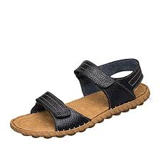 Wild Wind Material Mens <b>Leather Summer</b> Open Toe Simple Design ...