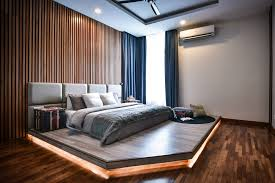 master bedroom feature wall:  extensive timber finishes used from the flooring to feature wall created a modern yet vibrant master timber strip master bedroom