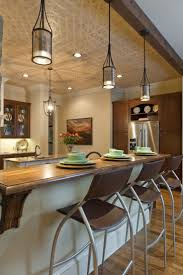 island design ideas designlens extended: kitchen excellent decorating ideas using cylinder white hanginng pendants and rectangle brown wooden barstools also with brown wooden countertops enchanting