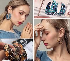 <b>Fashion Jewelry</b> Blue Tortoise Shell Hoop Earrings <b>Round Circle</b> ...