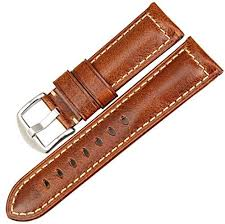<b>MAIKES</b> Vintage Oil Wax Leather <b>Watch Band</b> Light Brown 22mm ...