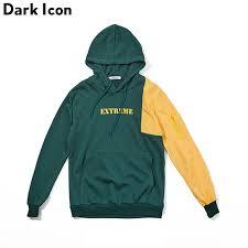 <b>Dark Icon</b> Patchwork Color Block Pullover Hip Hop <b>Hoodies</b> Men ...