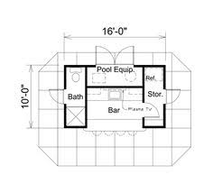 x      Shed   Porch   Pool House Plans  P   Free    Shed Plan chp  at COOLhouseplans com Pool House   bath and bar