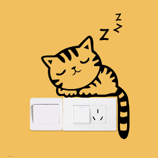 XXYYZZ <b>DIY funny Cute</b> Sleeping Cat <b>Dog</b> Switch Stickers Wall ...