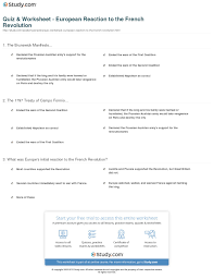 quiz worksheet european reaction to the french revolution print europe reacts to the french revolution worksheet