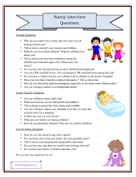 interviewing a babysitter questions to ask printable to nanny interview questions