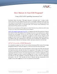 km knowledge management capability assessment tool apqc how mature is your km program using apqc s km capability assessment tool
