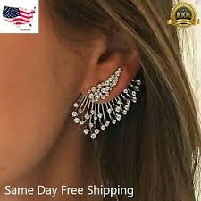 Gorgeous <b>925 Silver</b> Stud Earring for <b>Women</b> White Sapphire <b>Jewelry</b>