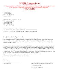debt settlement agreement letter printable documents debt settlement