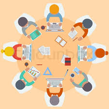 round table in top view flat design cartoon style vector colourbox within brilliant modern laptop table brilliant office table top stock photos images