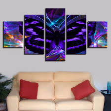 Frame Painting Artworks <b>5 Pieces</b> Abstract Purple Butterfly Prints ...