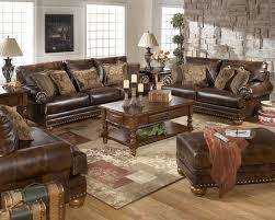 bonded leather antique brown sofa loveseat living room set by ashley antique living room furniture sets