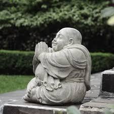 Handmade <b>Happy Buddha</b> Praying <b>Antique Statue</b> (Indonesia) in ...