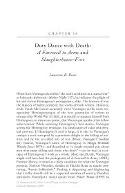 duty dance death a farewell to arms and slaughterhouse five new critical essays on kurt vonnegut new critical essays on kurt vonnegut