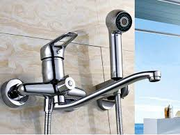 kitchen faucets wall mount: image of wall mount kitchen faucet with side spray