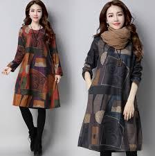 <b>Women's</b> Aztec Print <b>Crew Neck Oversized</b> Wool Jumper Dress ...