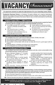 presidential business school various positions jobs in job description