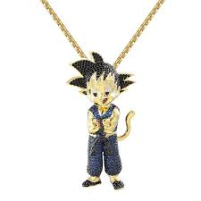 <b>Designer New</b> Bling Character <b>Blue</b> Goku Pendant 14k <b>Gold</b> Finish ...