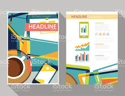 set of magazine cover flyer brochure flat design templates stock 1 credit