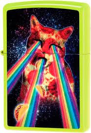 29614 <b>Зажигалка</b> Zippo <b>Pizza Cat</b>, Neon Yellow