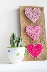 3 Heart string art decor, <b>pink</b> home wall art wood sign for Valentines ...