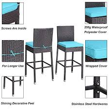 <b>Bar</b> Chairs with Turquoise Cushions & Armrest & Footrest Garden ...