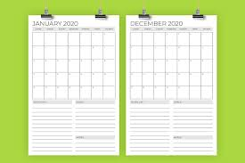 Vertical 11 x <b>17 Inch</b> 2020 Calendar Template - <b>Design</b> Bundles