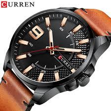 <b>CURREN</b> 8371 Watches <b>Men</b> Sports Leather Band Quartz Clock ...