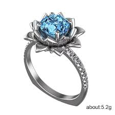 <b>Huitan Luxury</b> Solitaire <b>Ring</b> with Lotus Flower Design Sea Blue ...