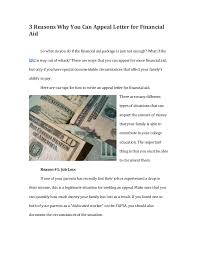 Appeal letter for financial aid 3 Reasons Why You Can Appeal Letter for Financial Aid So what do you do if ...
