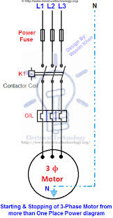 starting stopping of 3 phase motor from more than one power diagram starting stopping of 3 phase motor from more than one place power control