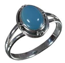 925 Solid <b>Sterling Silver</b> Ring <b>Natural Chalcedony</b> Blue at Rs 350 ...